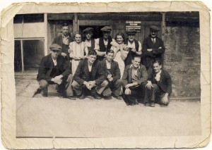 Joseph Coyle (far right, front, aged 14 with his workmates at the Old Ground Mill in Ramsbottom, Lancashire.